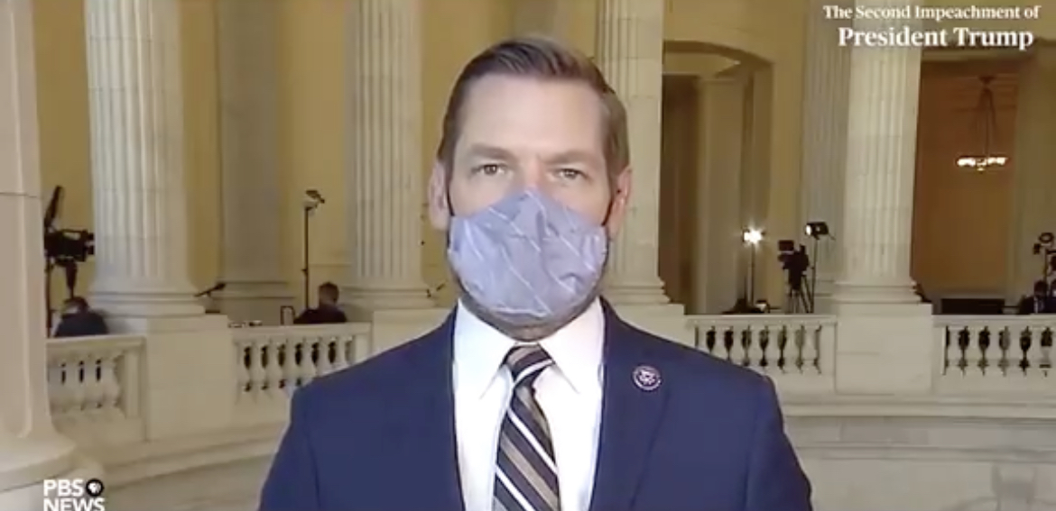 """Rep. Eric Swalwell says that President Trump """"inspired and radicalized people to storm the Capitol"""" in the same way that Osama bin Laden inspired 9-11"""